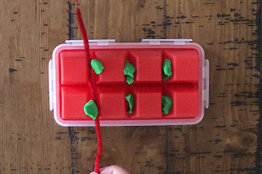 This project uses an ice tray, Play-Doh, and pipe cleaners to illustrate the importance of flossing!