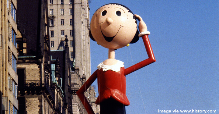 Popeye's damsel-in-distress girlfriend Olive Oyl is one of 15 female Thanksgiving Day balloons.